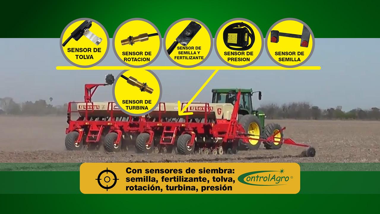 El sistema opera con sensores para cuantificar las semillas o cantidad de fertizante utiliza al operar, así como también el contenido de la tolva, etc